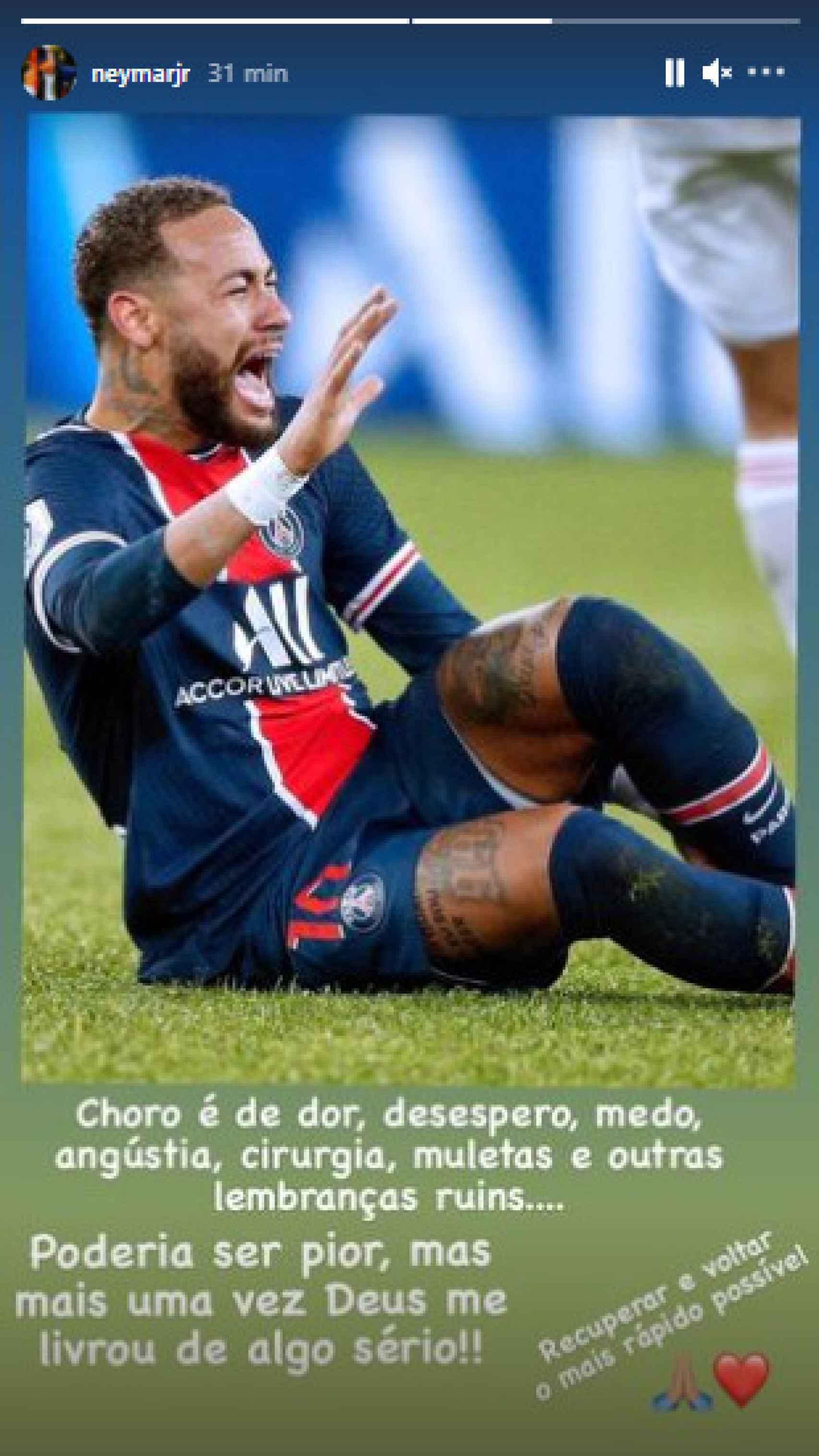 La publicación de Neymar en Instagram