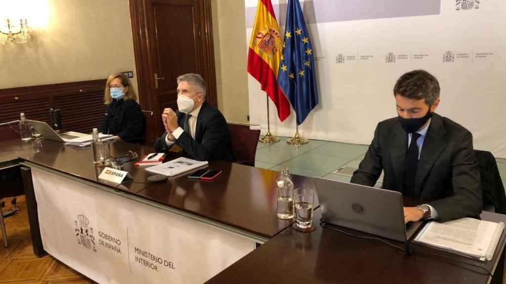 El ministro del Interior, Fernando-Grande Marlaska, durante la videoreunión de la UE de este lunes