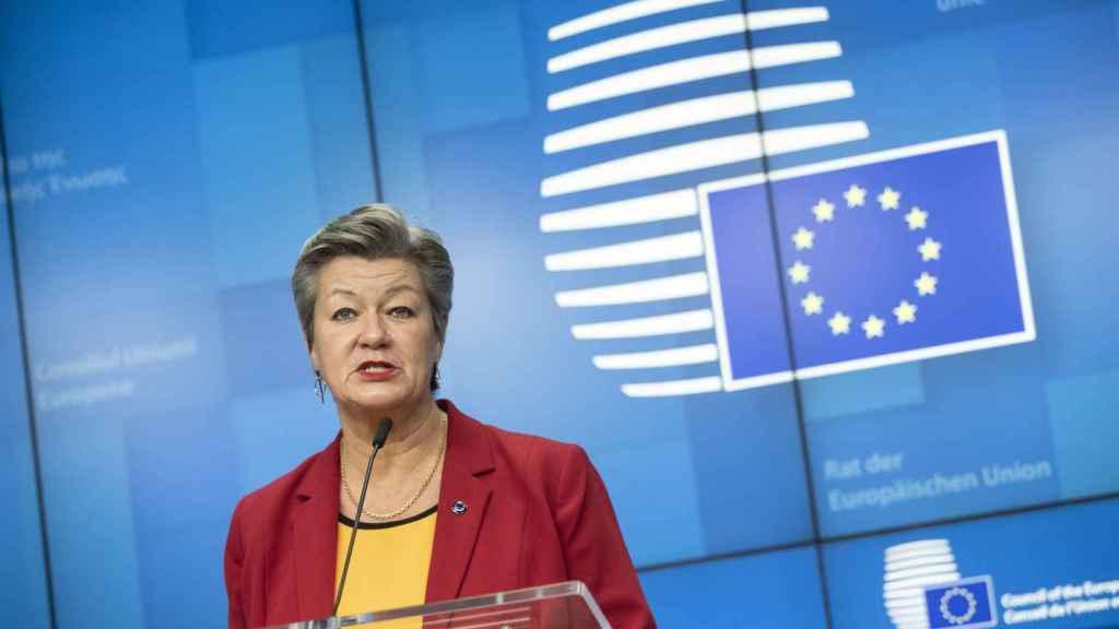 La comisaria del Interior, Ylva Johansson, durante la rueda de prensa de este lunes