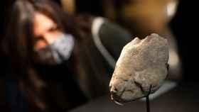 El museo de Arqueología de Cataluña y la Universidad Autónoma de Barcelona presentan una placa de piedra con grabados de diversas especies animales.