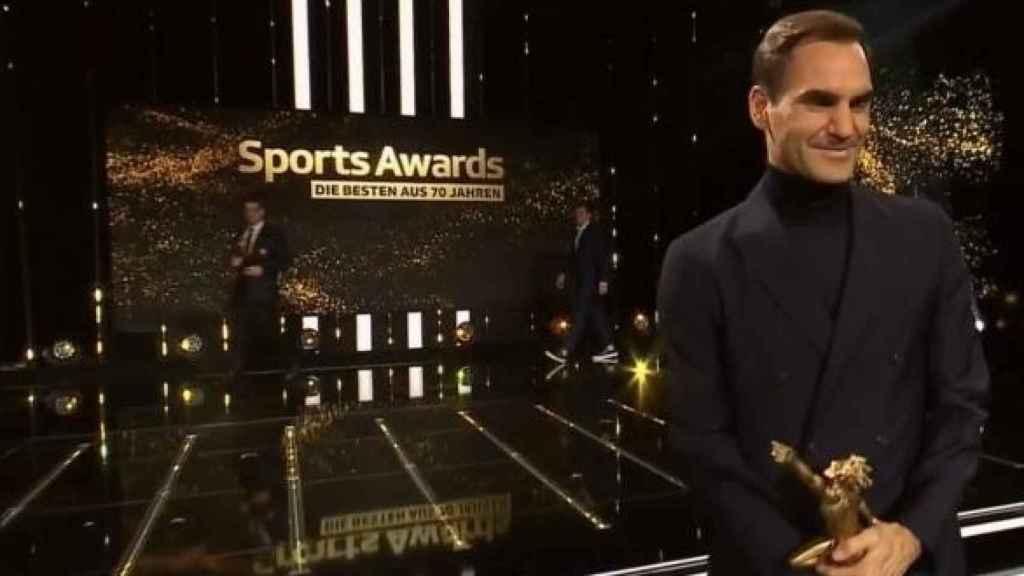 Roger Federer, durante la gala de premios