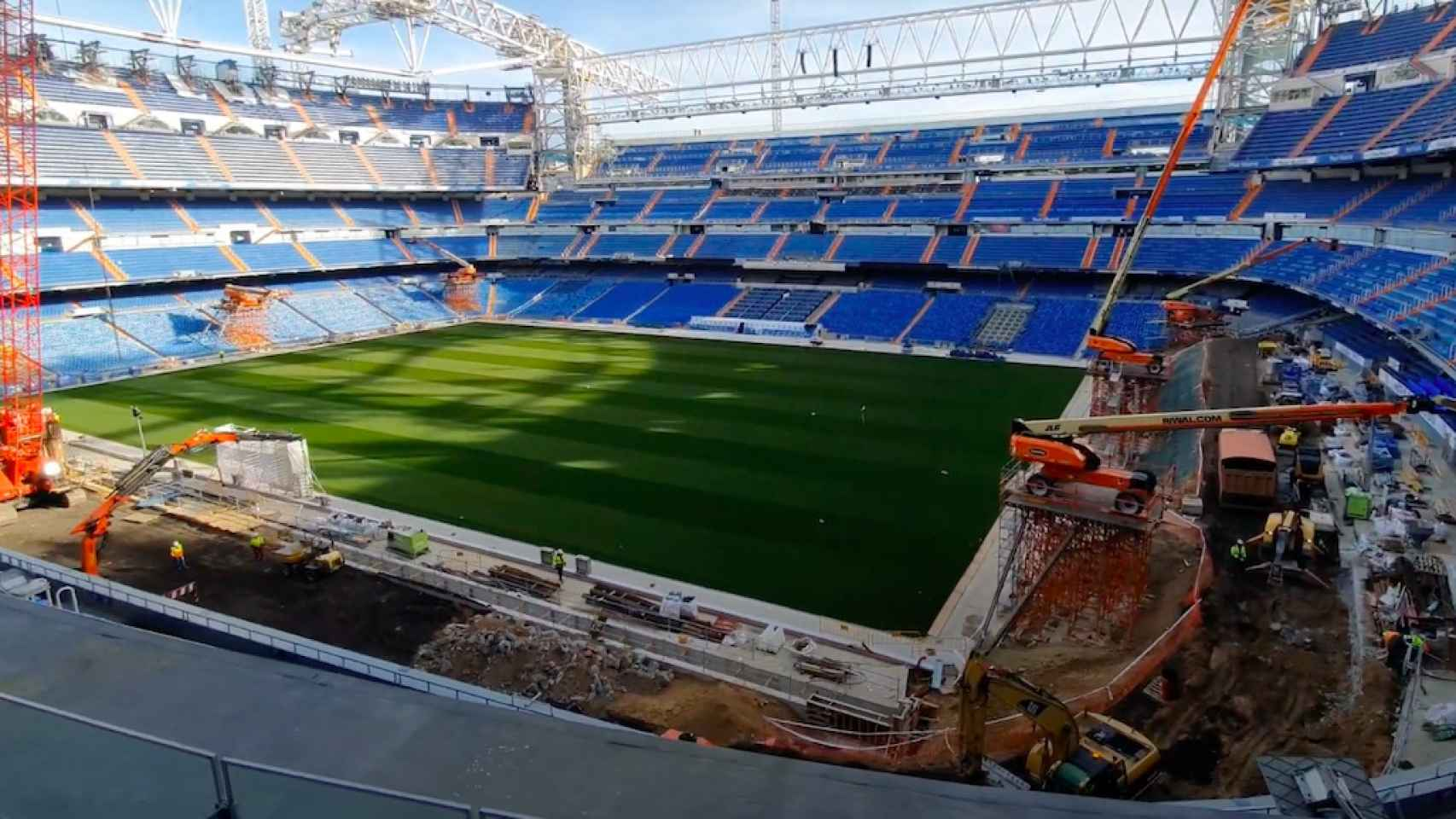 Obras del Santiago Bernabéu en su interior