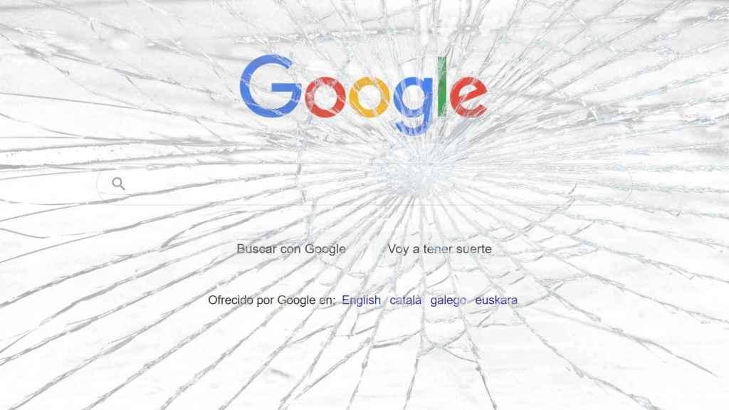 Montaje fotográfico con la página de inicio de Google