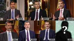 Felipe VI en la retransmisión de su mensaje de Nochebuena en los últimos seis años.
