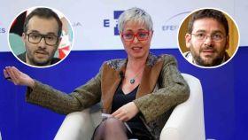 La periodista Anna Grau y dos de sus acosadores: Jair Domínguez y Albano Dante Fachín.