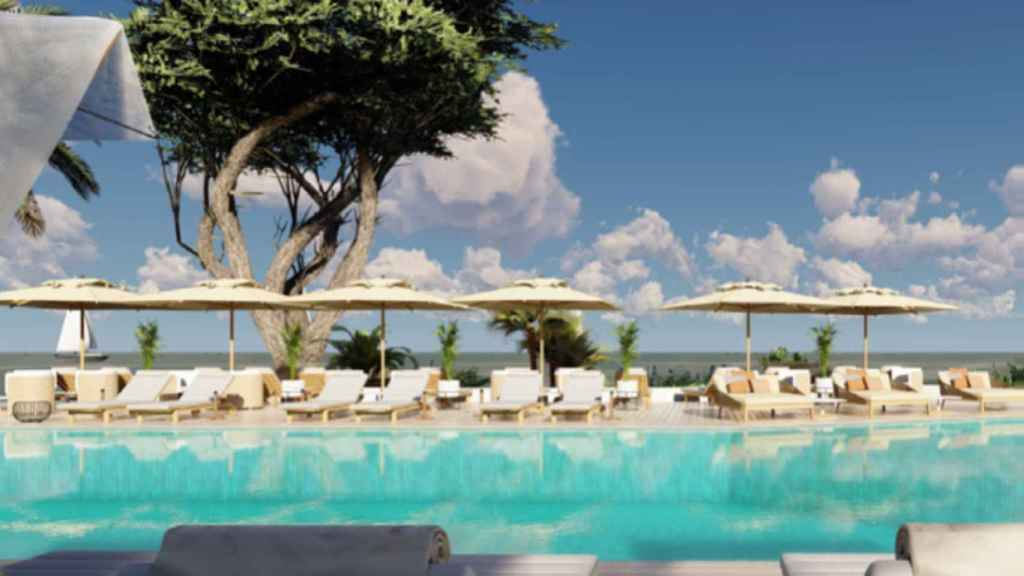Imagen de la piscina exterior del Hotel Riomar Ibiza.