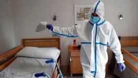 Desinfección de una residencia de mayores en Madrid.