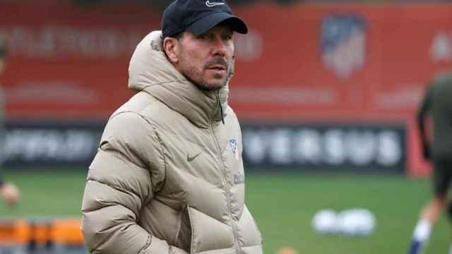Diego Pablo Simeone, en un entrenamiento del Atlético de Madrid