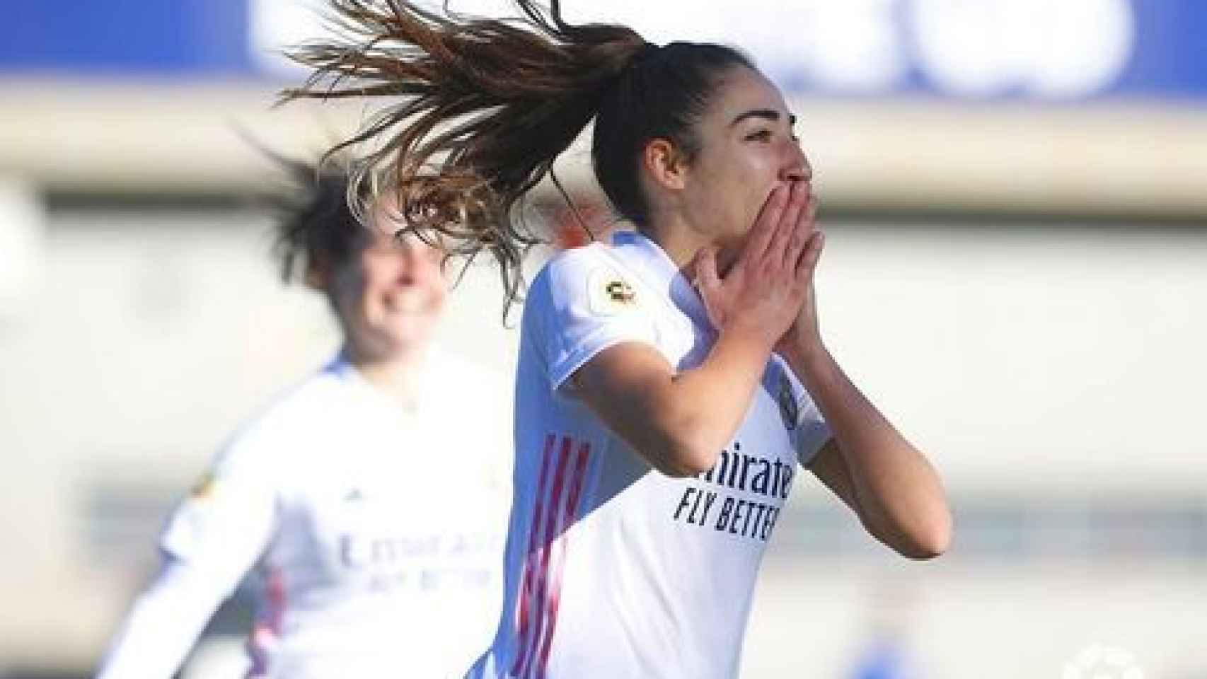 Olga Carmona celebra un gol con el Real Madrid Femenino
