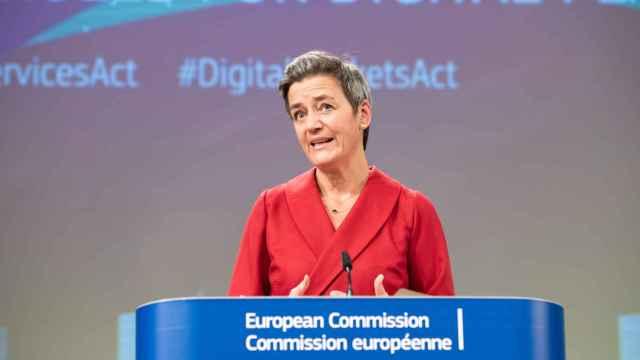 La vicepresidenta de la Comisión, Margrethe Vestager, durante la rueda de prensa de este martes