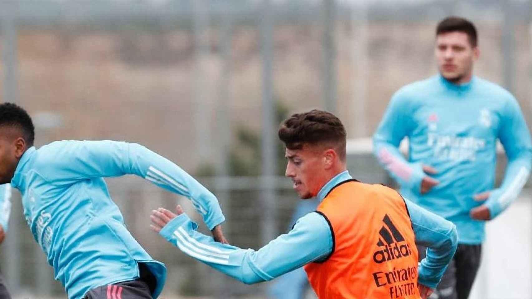 Luka Jovic, en el entrenamiento del Real Madrid