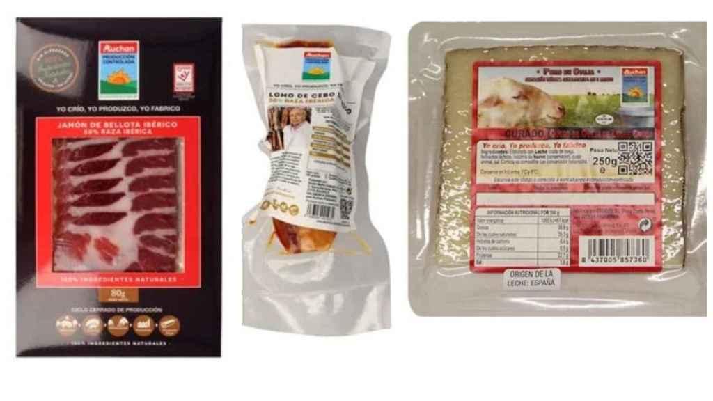 Los productos de Auchan Producción Controlada. De izquierda a derecha: jamón de bellota ibérico, lomo de cebo ibérico y queso de oveja.