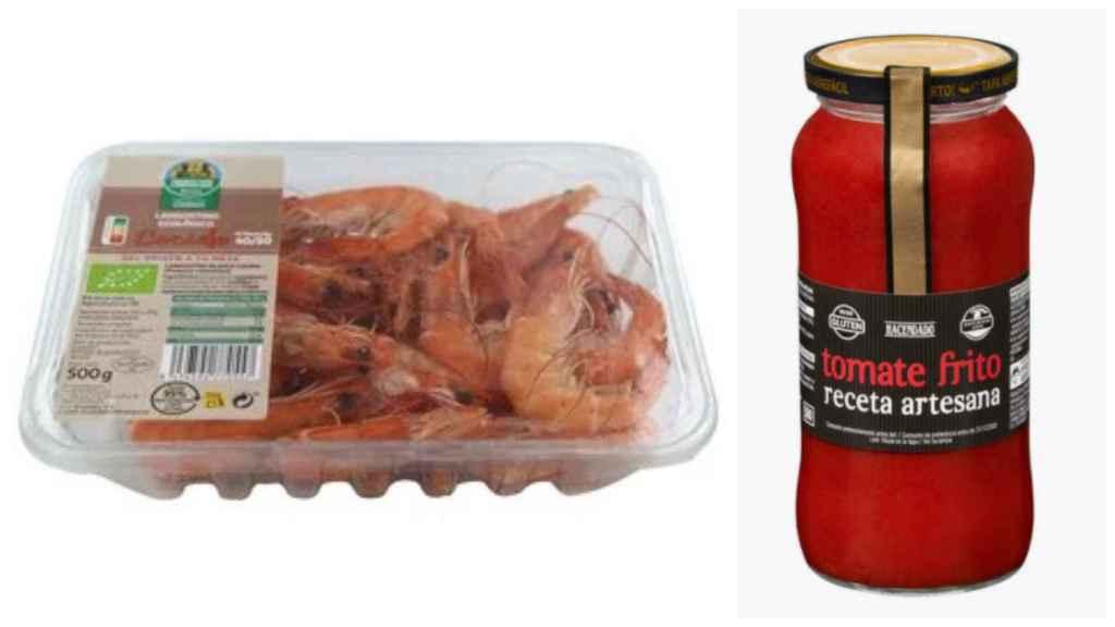 Langostinos de Auchan Producción Controlada y el tomate frito casero de Hacendado.