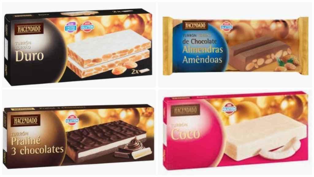 Los turrones de Hacendado. De izquierda a derecha y de arriba a abajo: el duro, el de chocolate con almendras, el praliné y el de coco.