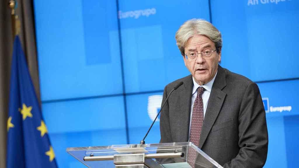 El comisario de Asuntos Económicos, Paolo Gentiloni, durante su rueda de prensa de este miércoles