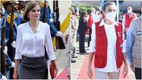La reina Letizia en Honduras en mayo de 2015 y en diciembre de 2020.