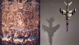 El collage de la Capilla Sixtina hecha de excrementos y el Cristo crucificado sobre un avión militar.