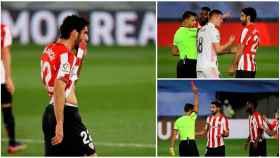 Raúl García, expulsado contra el Real Madrid