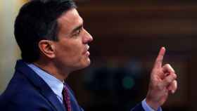 El presidente del Gobierno, Pedro Sánchez, durante su intervención ante el pleno del Congreso.