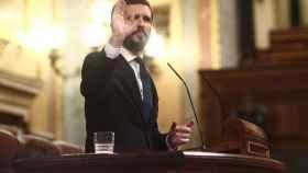 El presidente del PP, Pablo Casado, interviene durante la sesión de control al Gobierno de este miércoles.