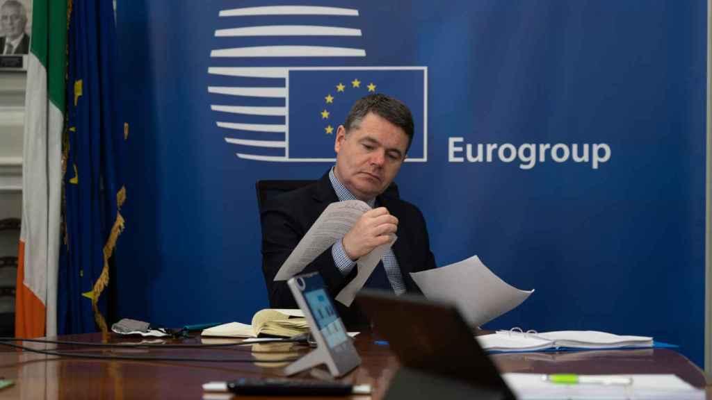 El presidente del Eurogrupo, Paschal Donohoe, durante la videoconferencia de este miércoles