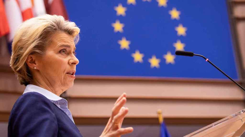 Ursula von der Leyen, durante su comparecencia en la Eurocámara de este miércoles