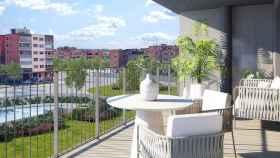 Terraza de las viviendas de la promoción Bayeu de Aedas Homes en Zaragoza.
