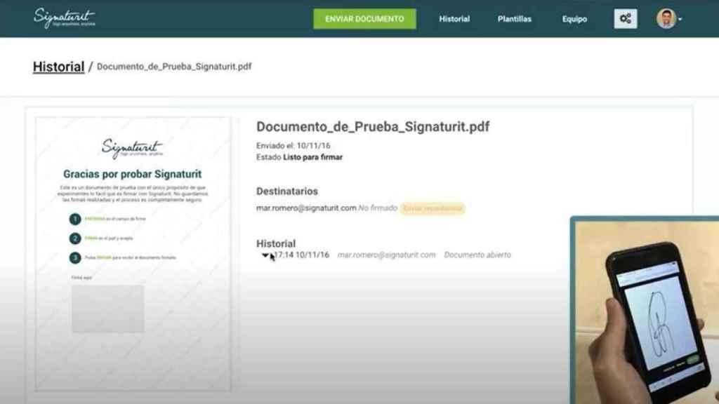 Aplicación de firma electrónica de Signaturit.