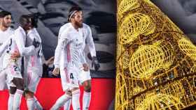 El Real Madrid celebra un gol durante un partido y una imagen de un árbol navideño de Madrid, en un fotomontaje