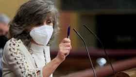La diputada del PSOE, María Luisa Carcedo, durante su intervención en el pleno del Congreso que acelera la tramitación de la ley de la eutanasia.