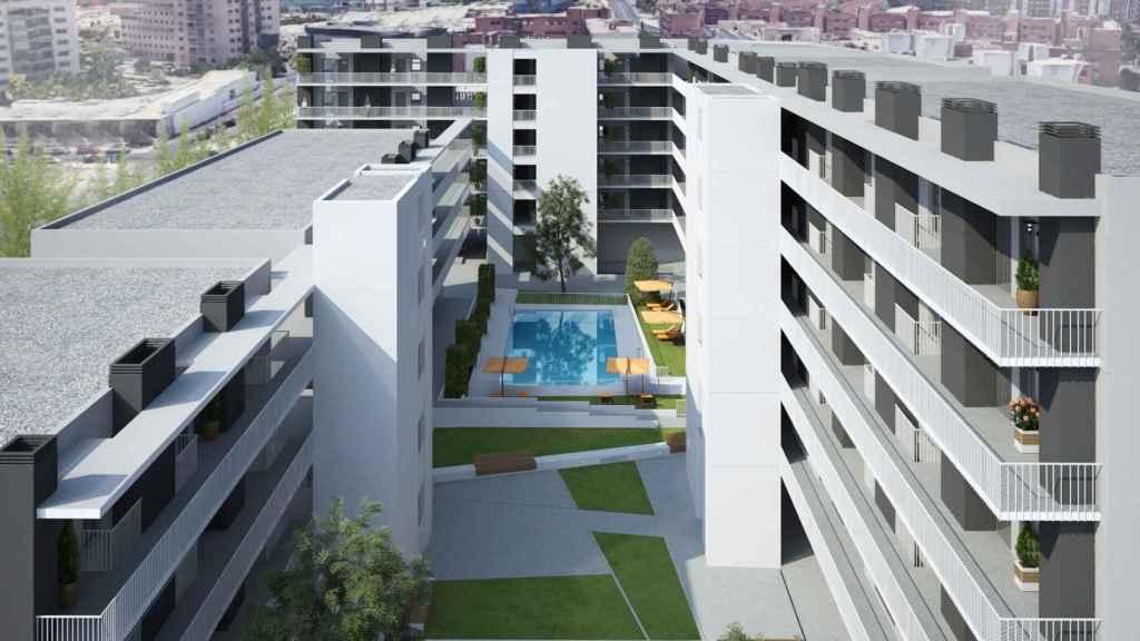 Imagen exterior de la primera promoción de viviendas industrializadas en altura de España que ha construido Tectum.