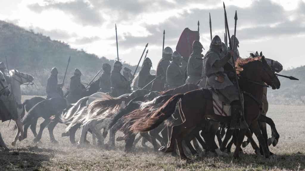 Carga de caballería en la batalla de Graus de la serie 'El Cid'.