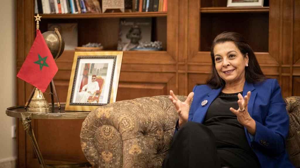 La embajadora de Marruecos en España, Karima Benyaich, durante una entrevista con EL ESPAÑOL.