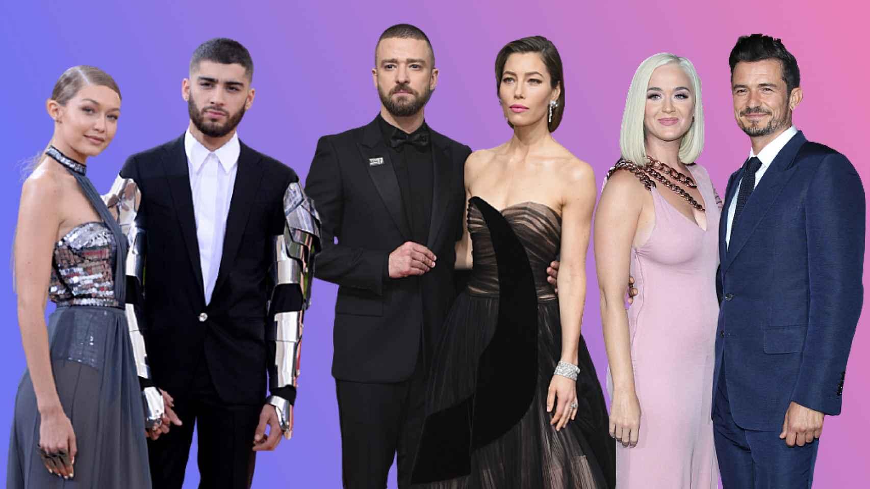 Gigi Hadid, Zayn Malik, Justin Timberlake, Jessica Biel, Katy Perry y Orlando Bloom, en un fotomontaje de JALEOS.