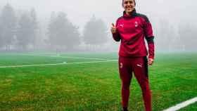 Vero Boquete entrenando con el Milan