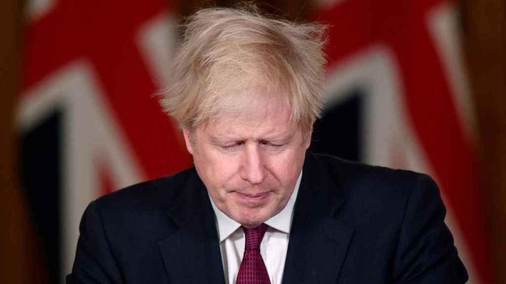 El primer ministro británico, Boris Johnson, durante su comparecencia ante los medios.