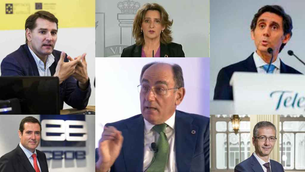 Manuel de la Rocha, Teresa Ribera, José María Álvarez Pallete, Antonio Garamendi, Ignacio Galán y Pablo Hernández de Cos.