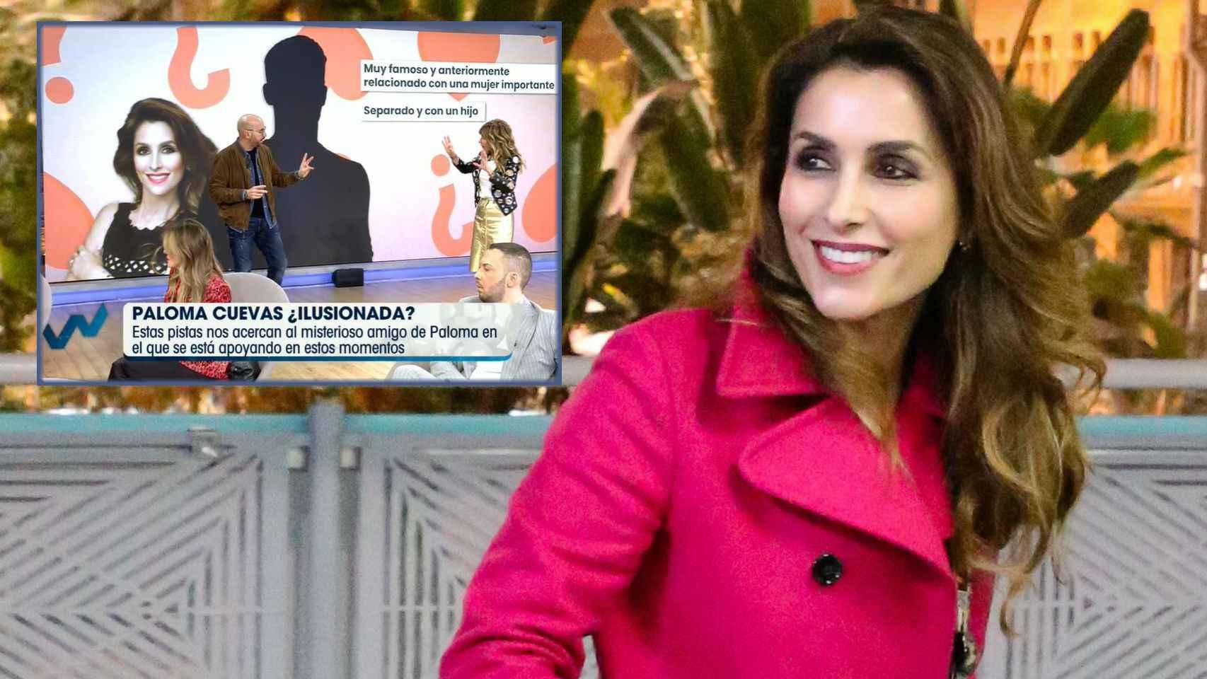 Paloma Cuevas junto al momento en el que Diego Arrabal ha dado pistas sobre el misterioso hombre.