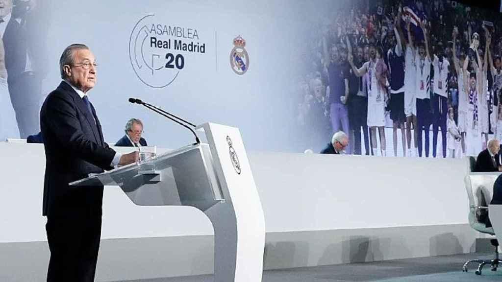 Florentino Pérez, durante la Asamblea de Socios del Real Madrid de 2020