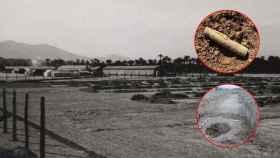 El campo de concentración de Albatera y una vaina de fusil y un depósito de latas de sardinas halladas durante las excavaciones.