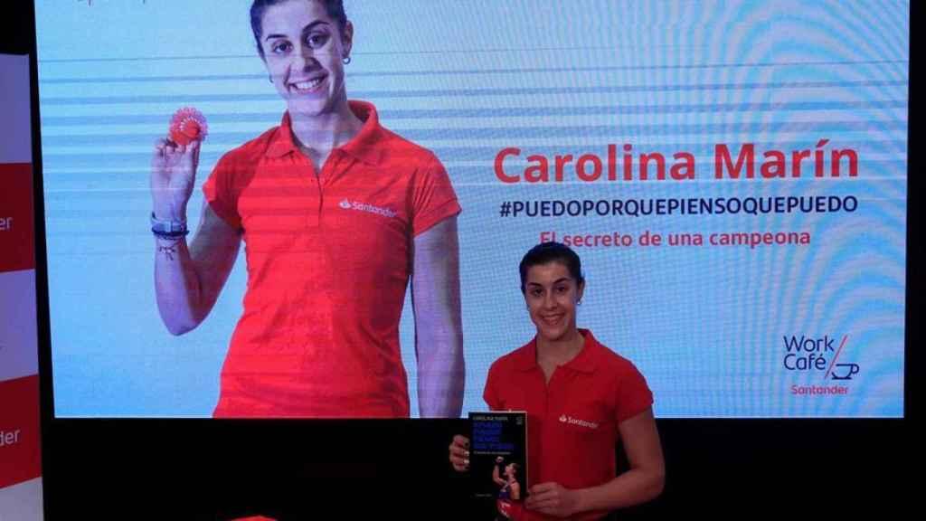 Carolina Marín, durante la presentación de su libro 'Puedo porque pienso que puedo'