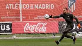 Jan Oblak, en un entrenamiento del Atlético de Madrid