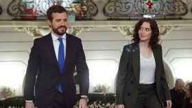 El presidente del PP, Pablo Casado, y la presidenta de la Comunidad de Madrid, Isabel Díaz Ayuso.