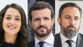La presidenta de Cs, Inés Arrimadas; el presidente del PP, Pablo Casado y Santiago Abascal, líder de Vox.