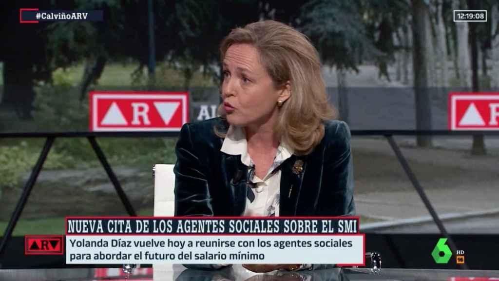 Nadia Calviño en entrevista.