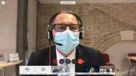 El futuro nuevo director general de ESA, Josef Aschbacher, durante su primera rueda de prensa virtual