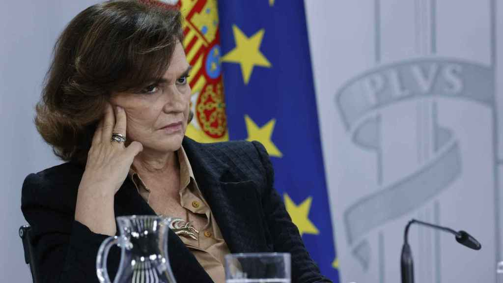 La ex vicepresidenta primera del Gobierno, Carmen Calvo, en Moncloa.