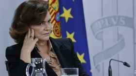 La vicepresidenta primera del Gobierno, Carmen Calvo, durante la rueda de prensa posterior a la reunión del Consejo de Ministros.