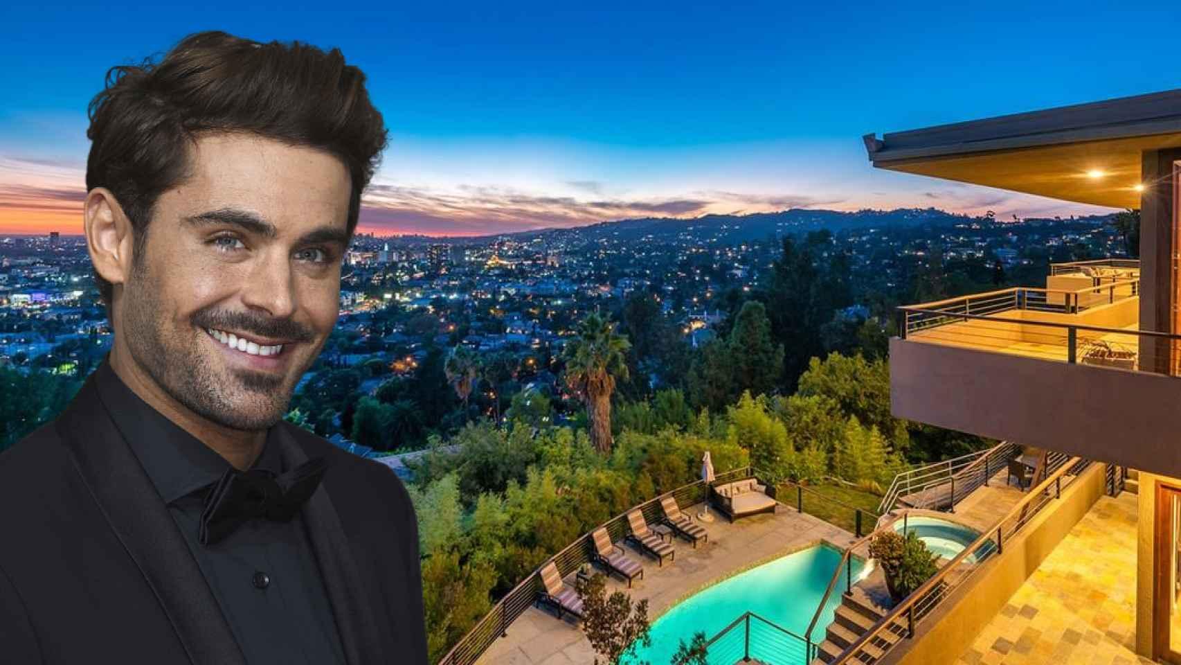 Zac Efron, junto a su casa en Los Ángeles, en un fotomontaje de JALEOS.