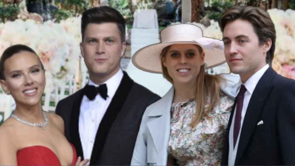 Scarlett Johansson, Colin Jost, Beatriz de York y Edoardo Mapelli en montaje de JALEOS.